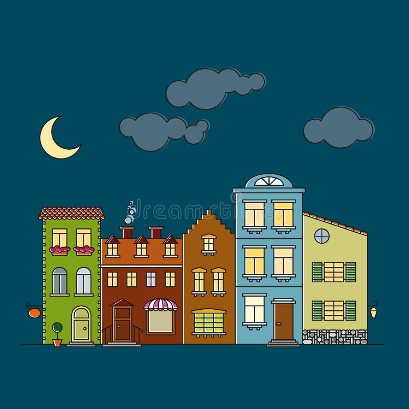 Small village main street buildings facades at night vector illustration