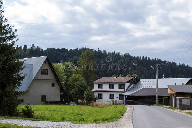 Small village in the mountains royalty free stock photos