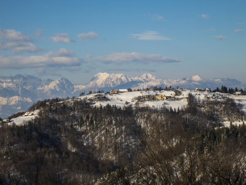 Small village in the mountains. Small village in Slovenian mountains stock images