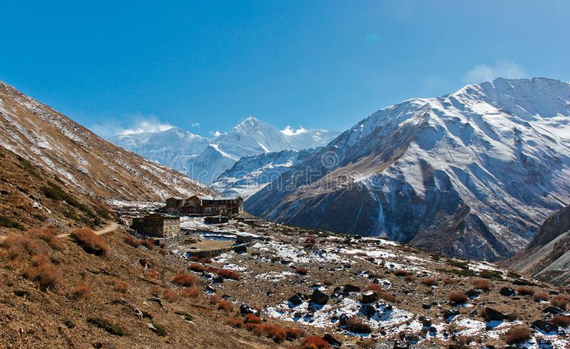 Small village in Nepal before the Annapurna pass royalty free stock photos