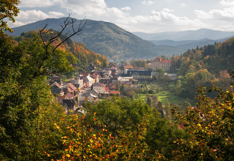 Small Village Pastoral View. Autumn view to pastoral small village, quitely located between mountain hills royalty free stock photos