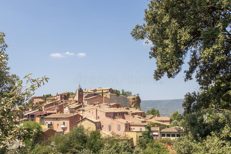 The small village of Roussillon. Landscape with houses in historic ocher town Roussillon, Provence, France stock images