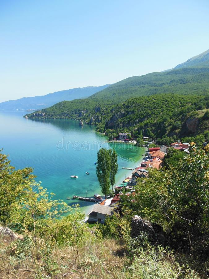 Small village Trpejca near lake Ohrid stock photography
