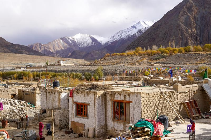 The small village on the way to Leh stock photos