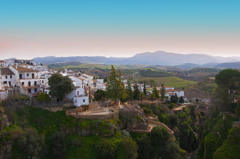 Small village with white houses, placed on the hilltop, spring royalty free stock photo