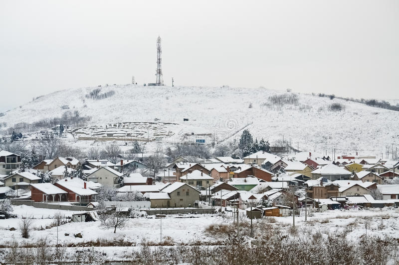 Small village in winter royalty free stock photo