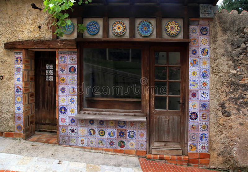 Small vintage house with majolica tile decor royalty free stock photography