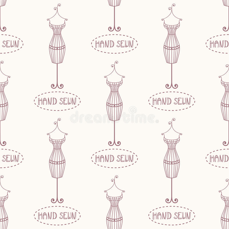 Small vintage iron mannequin seamless pattern with inscription hand sewn stock illustration