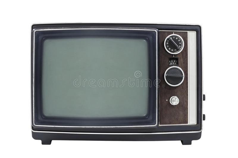 Download Small Vintage Portable Television Isolated Stock Photo - Image of electric, blank: 33483904