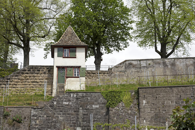 A small watch tower in Rapperswil. RAPPERSWIL, SWITZERLAND - MAY 10, 2016: A small watch tower at the wall that surrounds the castle grounds royalty free stock photos