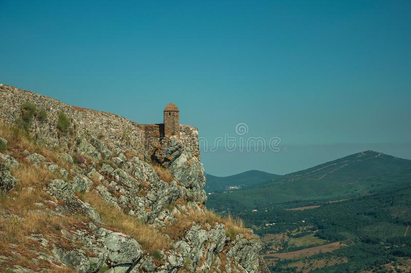 Small watchtower and stone wall over cliff in Marvao stock photo
