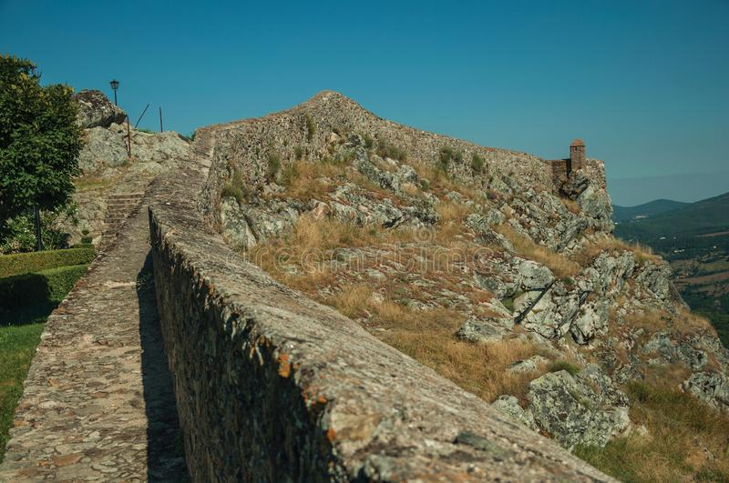 Small watchtower and stone wall over cliff in Marvao stock image