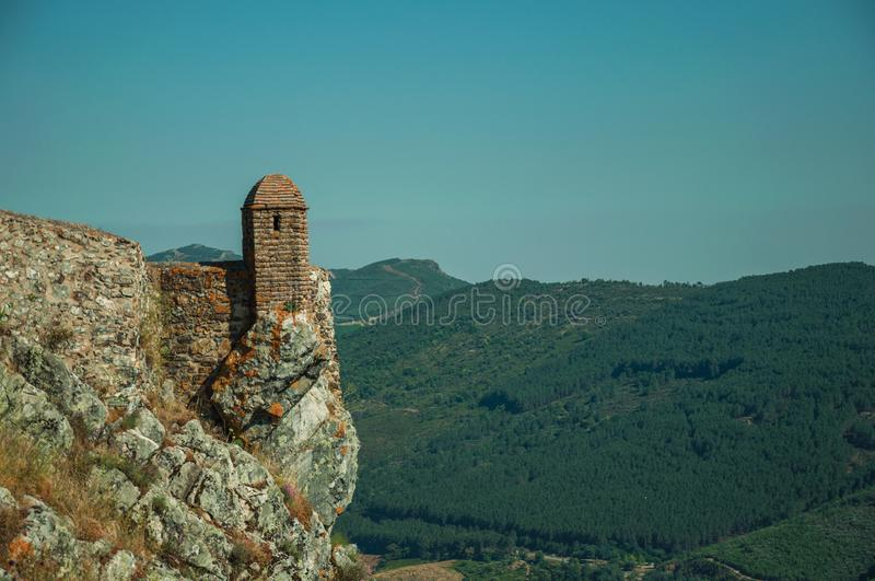 Small watchtower and stone wall over cliff in Marvao royalty free stock photo