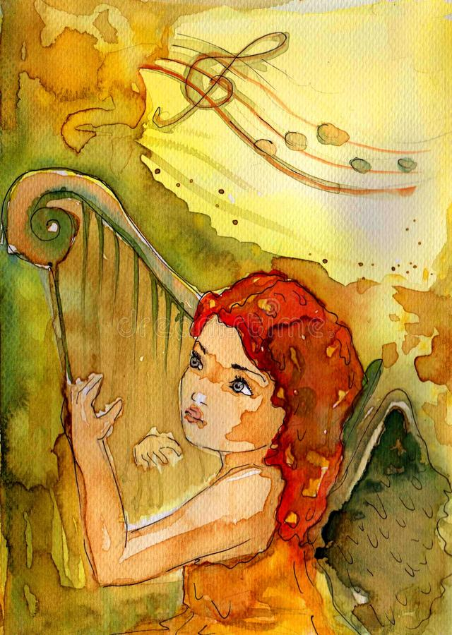 Small watercolor angel royalty free illustration