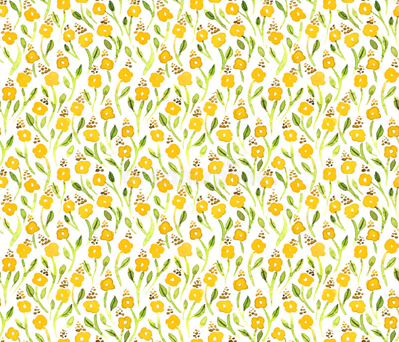 Small watercolor yellow flowers pattern vector illustration