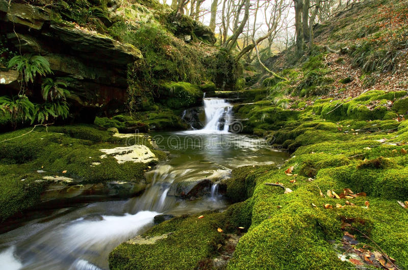Small waterfall, Creunant just below Pwll y Alun royalty free stock photos