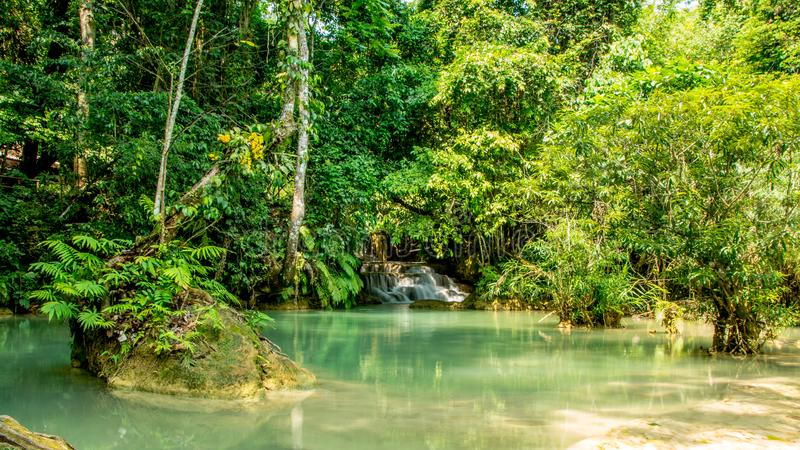 Small waterfall flowing into a natural pool stock images