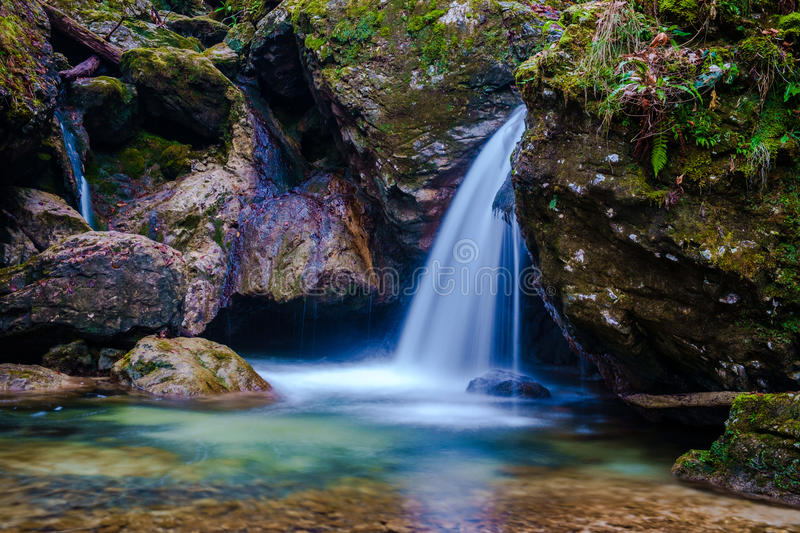 Small waterfall at Hell Pekel gorge stock photo
