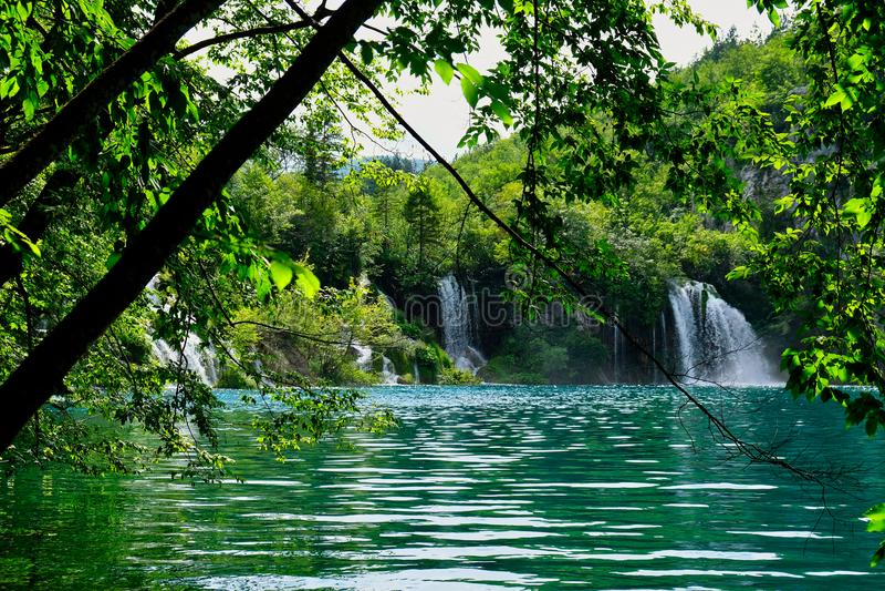 Small Waterfall, Plitvice Lakes, Croatia. Small waterfall joining sequential Plitvice Lakes, Plitvice National Park, European Union, Dalmatia, a UNESCO World stock photography