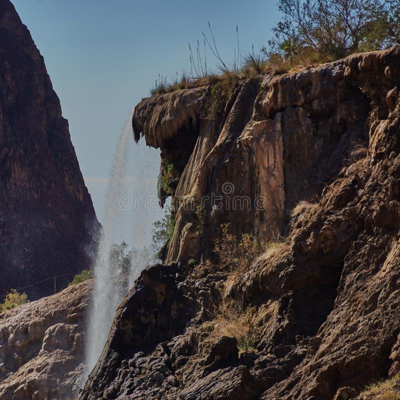 Small waterfall in Jordan shortly before the Dead Sea.  royalty free stock photos