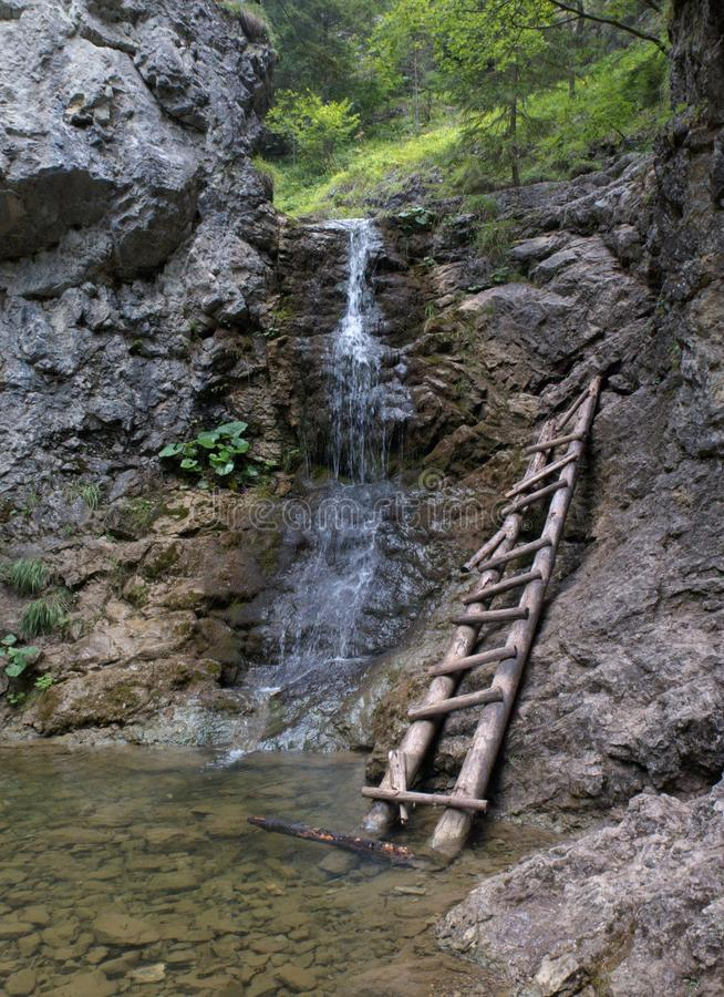Small waterfall in Kvacianska dolina valley in Chockske vrchy stock photo