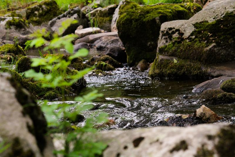 Small waterfall in the middle of rocks and plants. As we can see a river winding among the rocks royalty free stock photos
