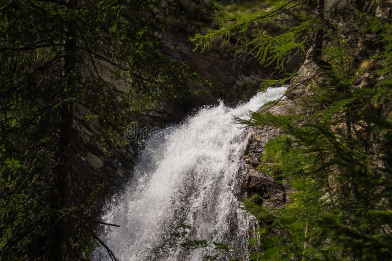 A small waterfall in north Italy royalty free stock image
