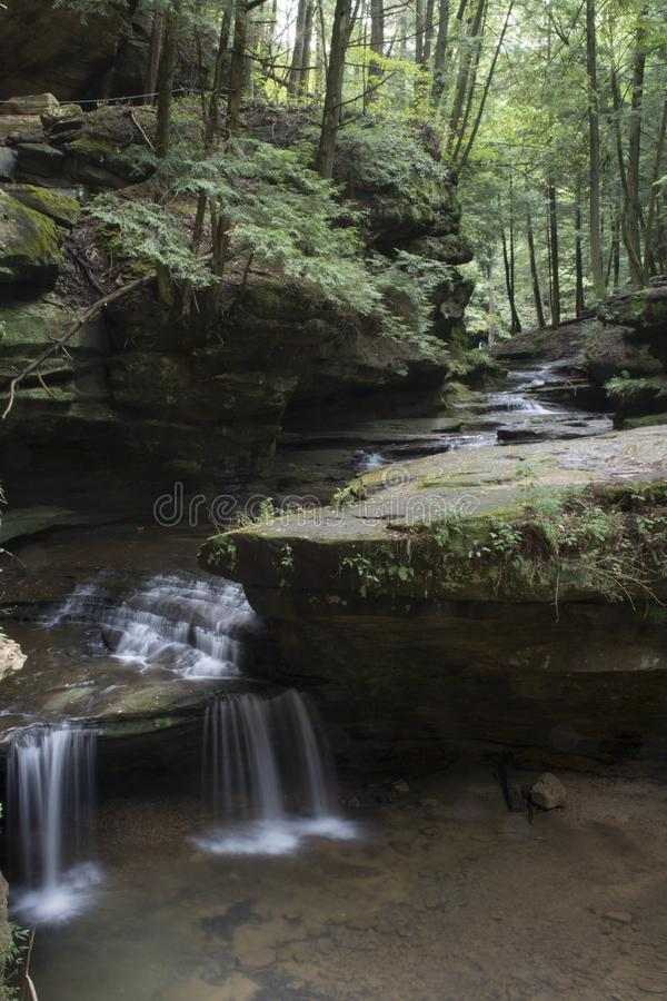 Small waterfall at old man`s cave stock photography