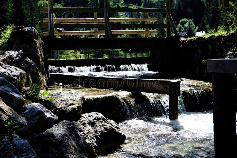 Small waterfall for power station in Kranjska Gora stock photography