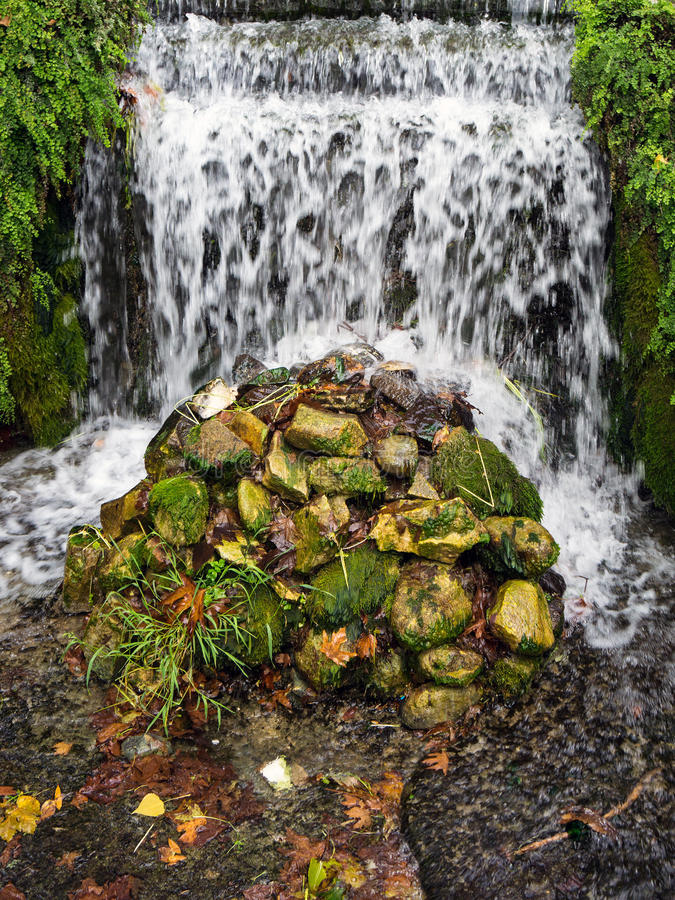 Small Waterfall in Public Park stock image