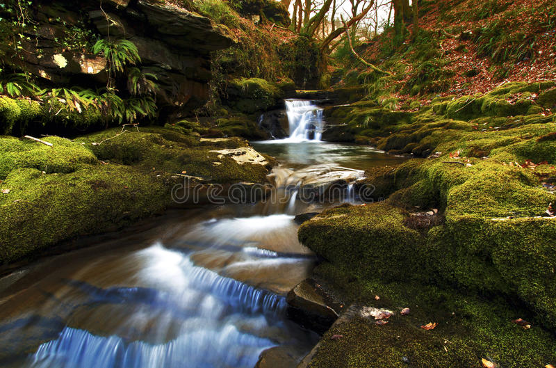Small waterfall from Pwll y Alun, Creunant river stock photos