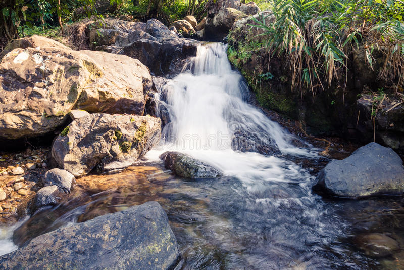 Small waterfall - Stock Image. Small waterfall that occurs naturally in Laos, Vang Vieng royalty free stock photos