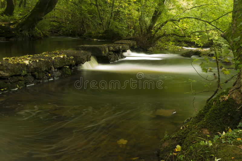 Small waterfalls, The Dingle Nature Reserve Llangefni. Long expo. Long exposure of small waterfalls, The Dingle (Nant y Pandy) Llangefni, Anglesey, Wales, United stock photos