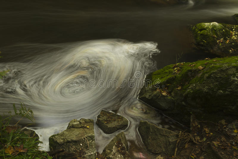 Small waterfalls, The Dingle Nature Reserve Llangefni. Long expo. Long exposure of small waterfalls, The Dingle (Nant y Pandy) Llangefni, Anglesey, Wales, United royalty free stock photo