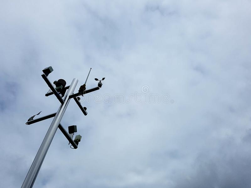 Small weather station. Captured on the Roof of moesgaard museum denmark royalty free stock photography