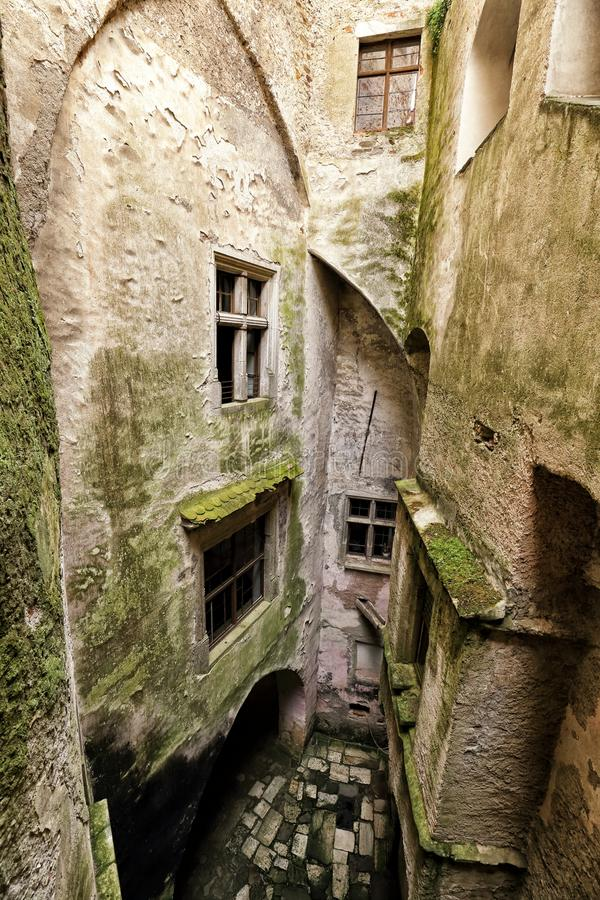Small wet inner court of the old castle. With walls covered by moss stock photos