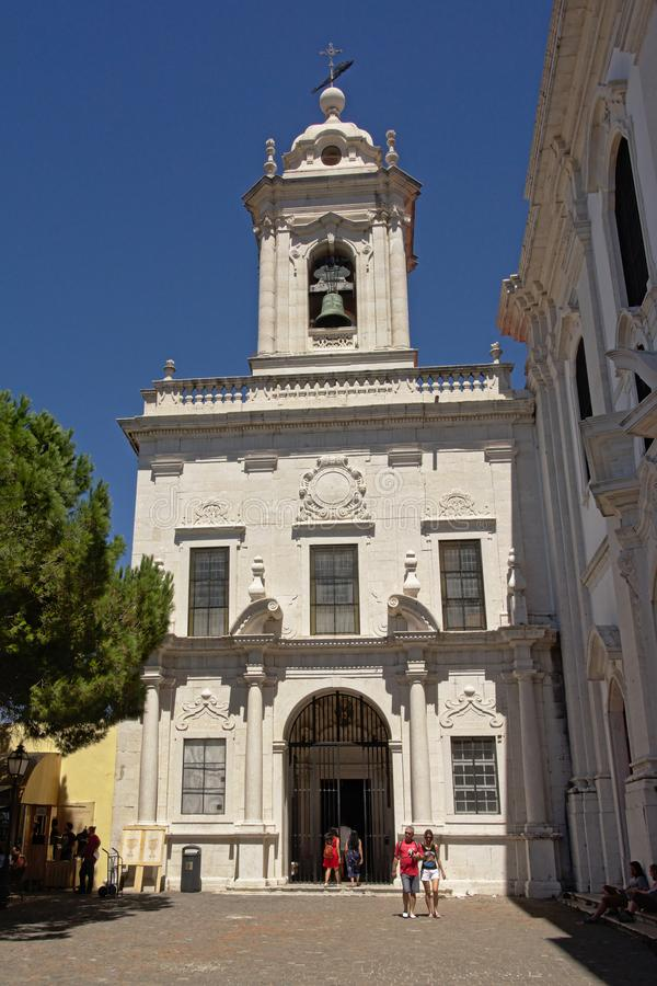 Small catholic church in Lisbon, Portugal stock photography