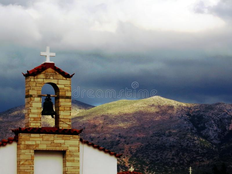 Small white chapel on crete island, Greece royalty free stock images