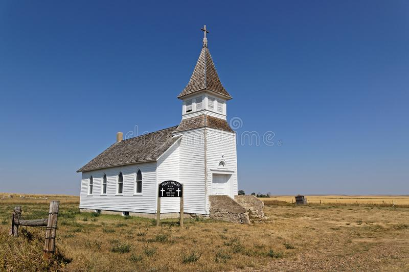 White church lost in the plains of North Dakota royalty free stock images