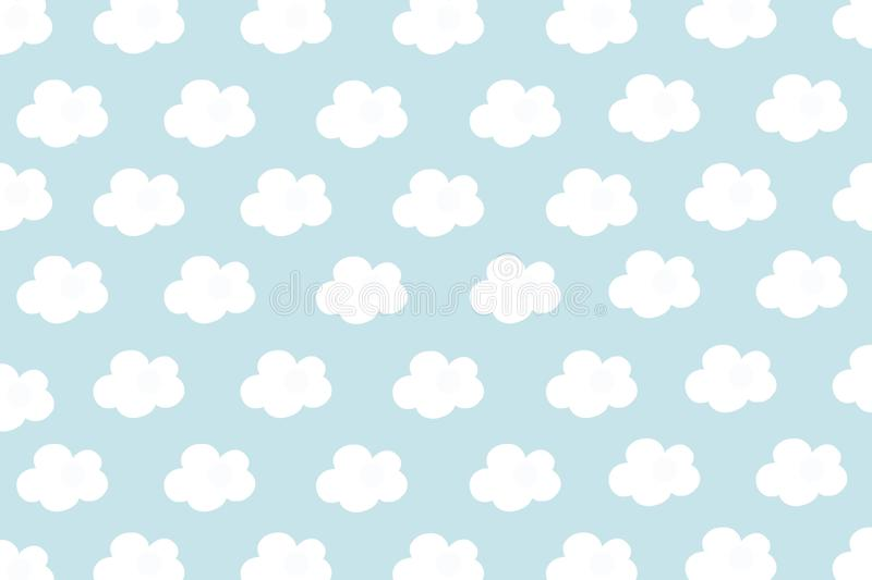 Small white clouds with cyan pastel pattern background. Abstract seamless minimalism. Paint cartoon style.  vector illustration