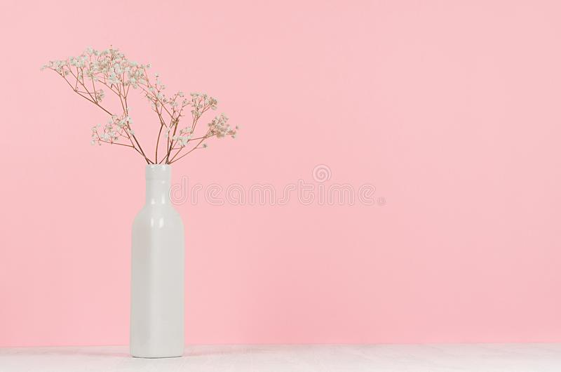 Small white dried flowers in elegant high ceramic vase on soft pastel pink background, copy space. royalty free stock images