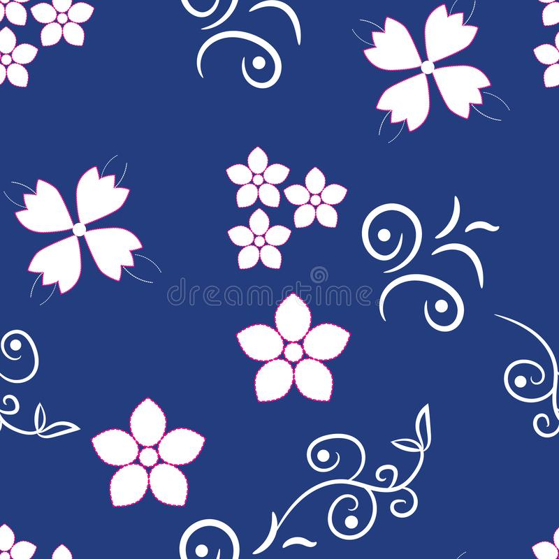 Small white flowers on blue background stock photos