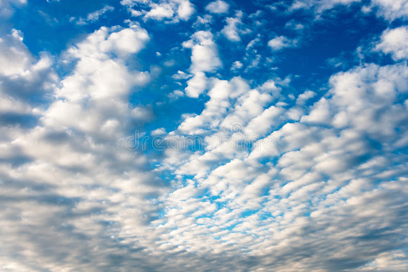 Small white fluffy clouds. Deep blue sky full of small white fluffy clouds ideal for a background royalty free stock image