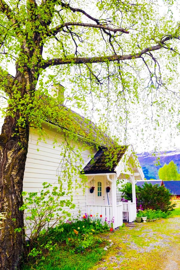 Small White House with Front Wood Porch royalty free stock photos