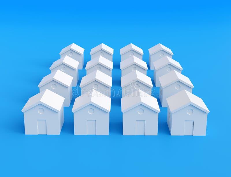 Small white houses, futuristic town block abstract cgi representation. 3d illustration stock illustration