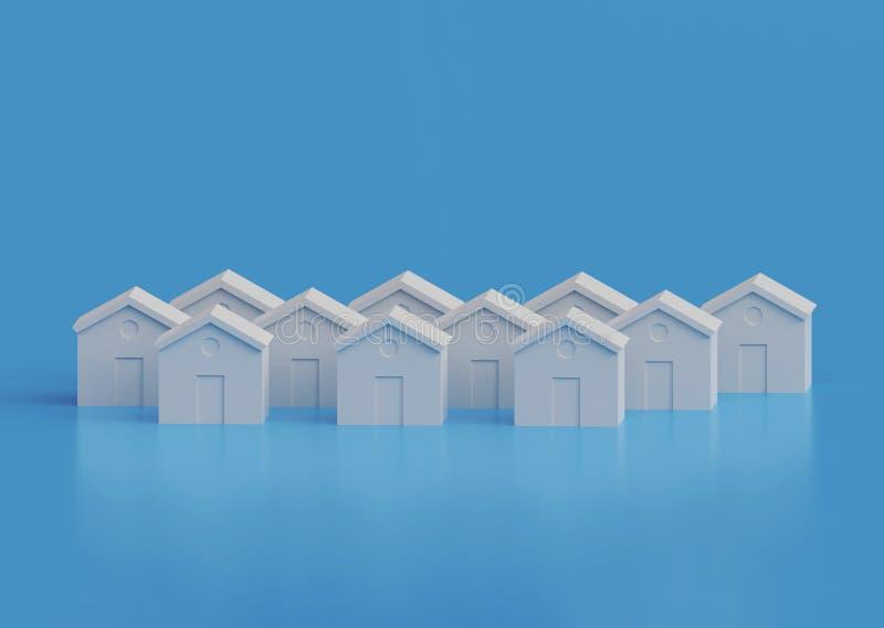 Small white houses, futuristic town block abstract cgi representation. 3d illustration vector illustration