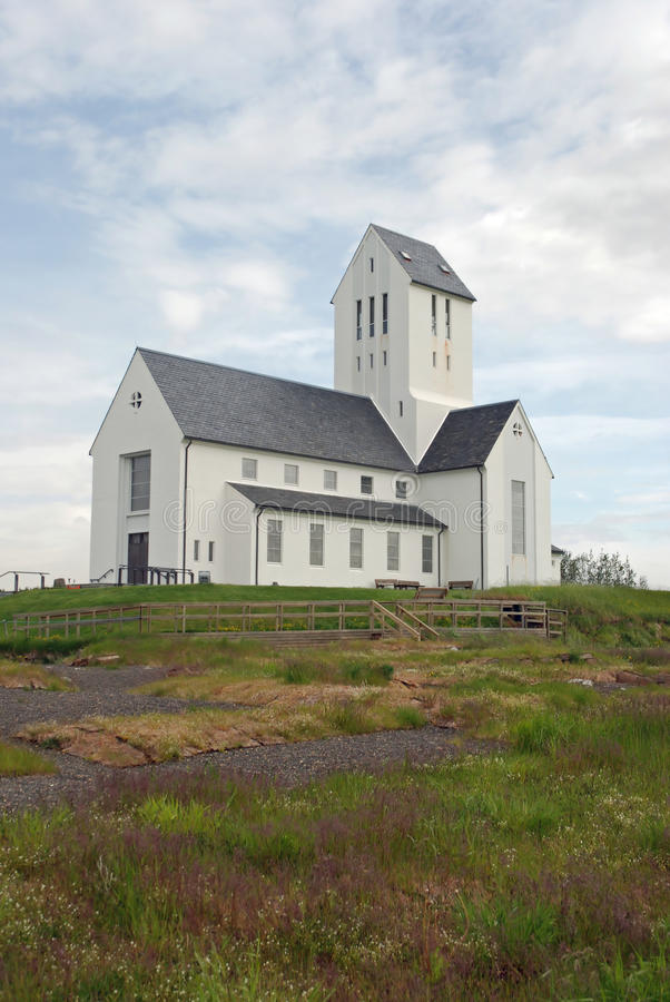 Small white Icelandic church. In the south of Iceland royalty free stock photos