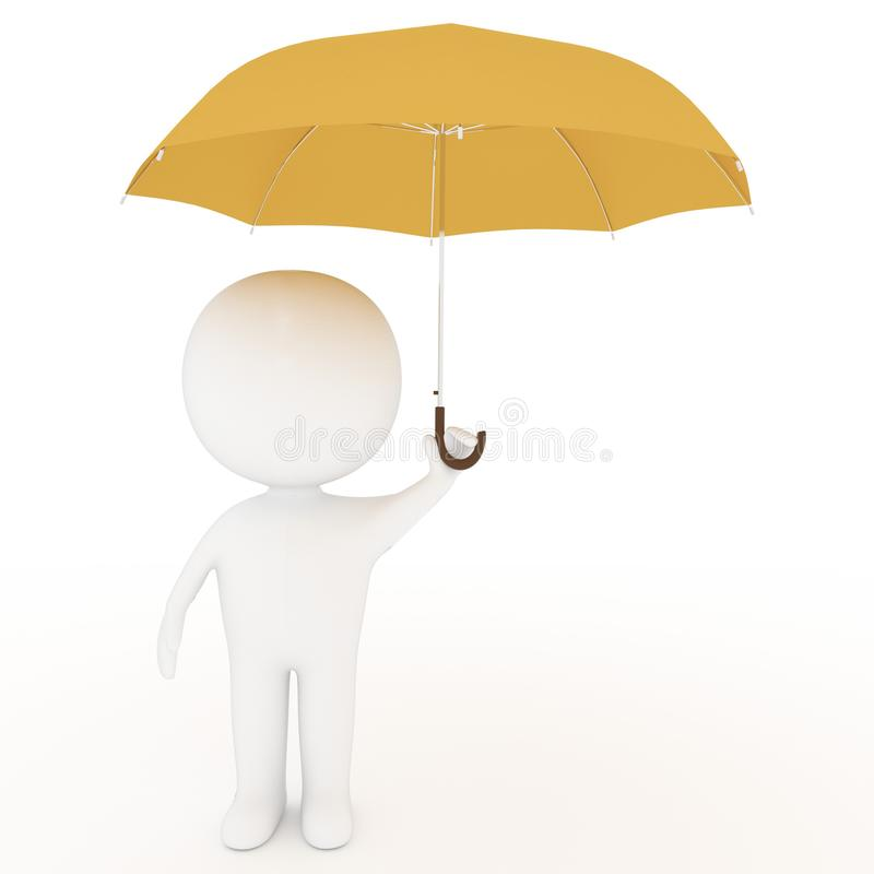 Small white people hold yellow umbrella on isolated white background in 3D rendering vector illustration