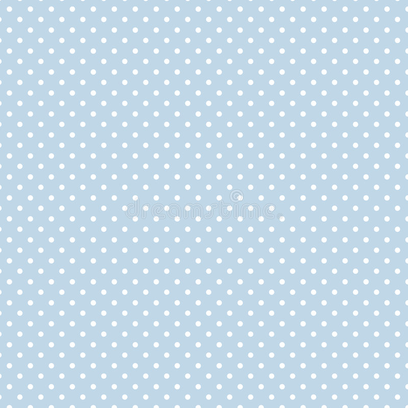 Small White Polka dots on Pastel Blue, Seamless Background stock illustration
