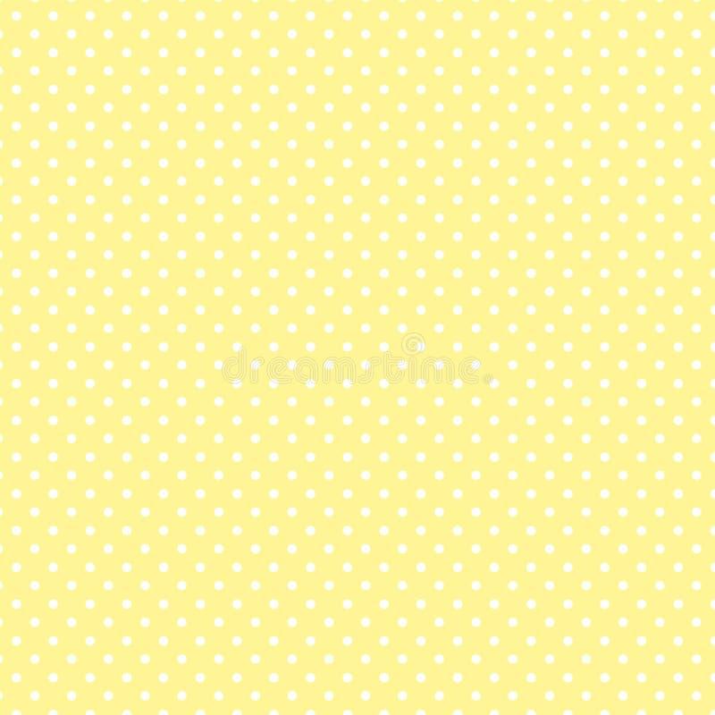 Small White Polka dots on Pastel Yellow, Seamless Background royalty free illustration